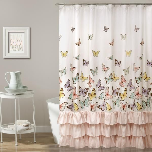 Give the little princess in your life a beautiful bathroom with this Microfiber shower curtain featuring colorful butterflies printed on the top and fun pink ruffles across the bottom. Part of the Flu