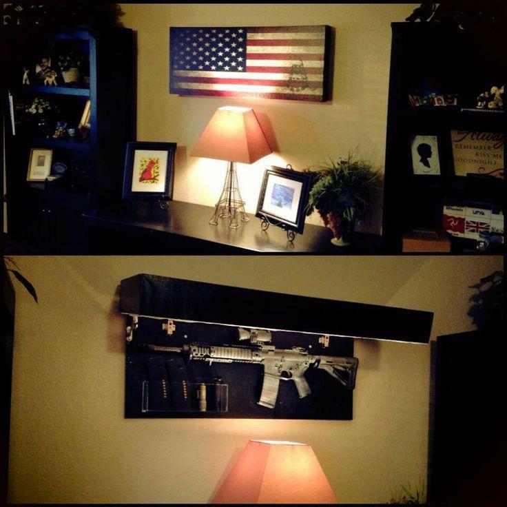 Hidden compartment behind flag.