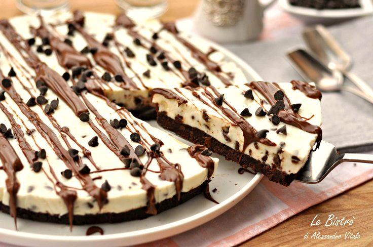 Cheesecake senza cottura alla stracciatella e nutella
