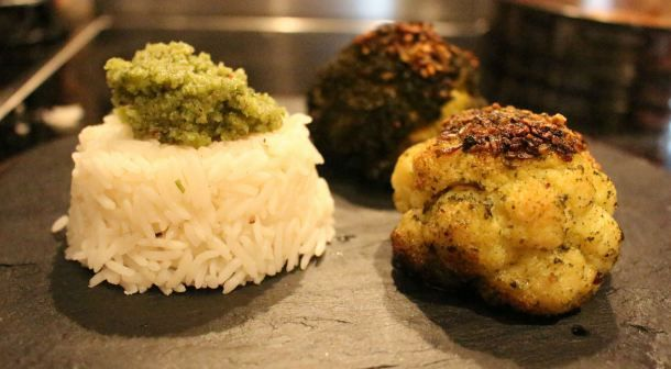 Roast Cauliflower and brazil but pesto