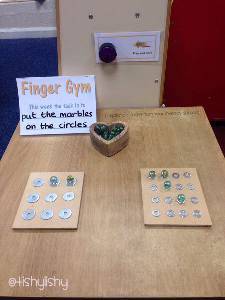 Finger Gym with washers and marbles fine motor skills