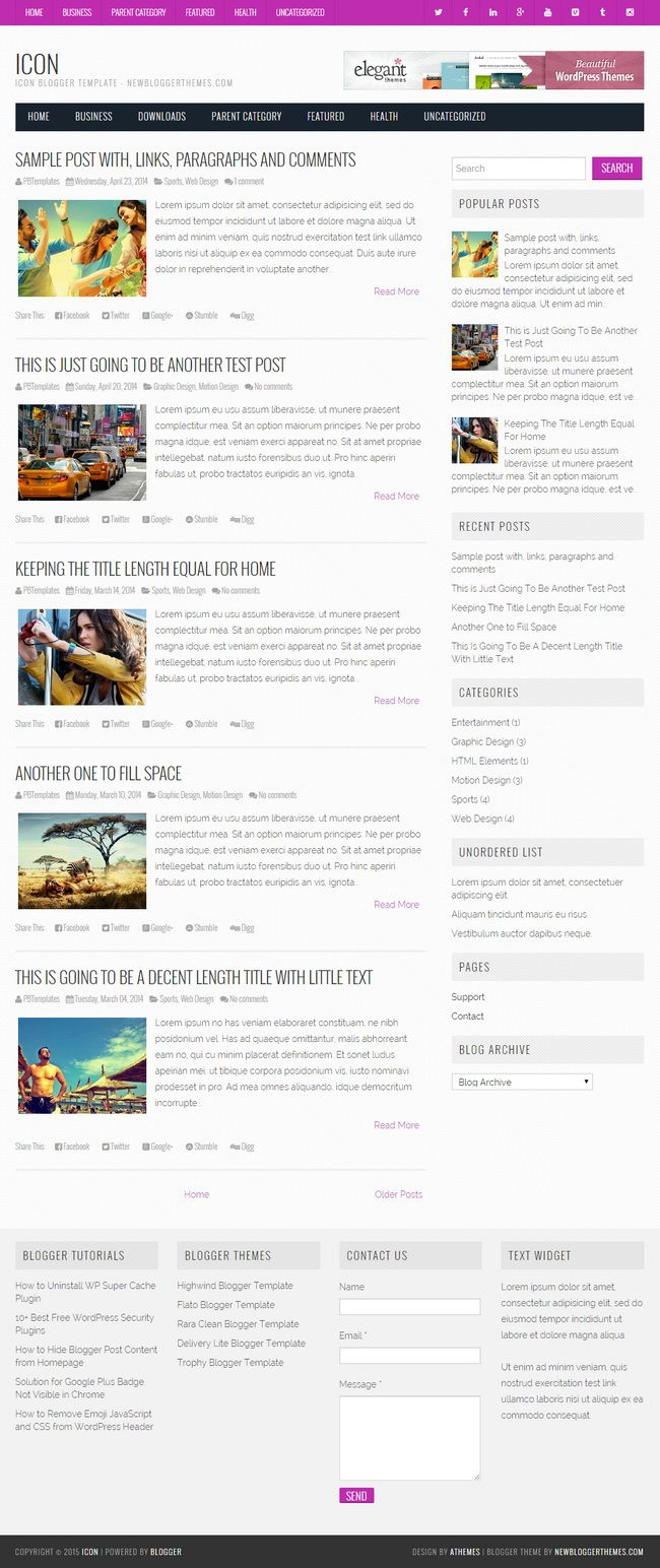 Icon Blogger Template:  Icon is a full responsive, simple and clean Blogger theme built using Bootstrap. Icon Blogger template has a right sidebar, 4 columns footer widgets area, Google fonts, icon fonts, related posts with thumbnails, social buttons, post share buttons, 2 drop-down navigation menus, auto post summaries on homepage and more.  http://newbloggerthemes.com/icon-blogger-template/