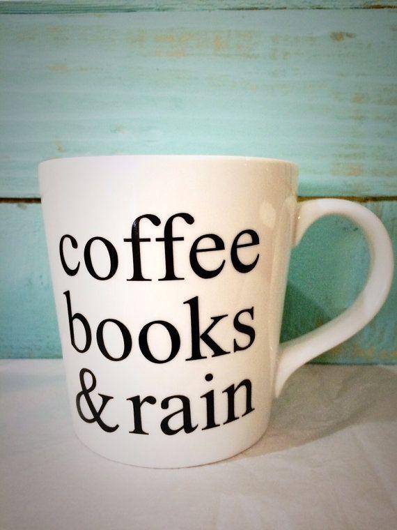 16oz Coffee Books & Rain Mug by CutsAndCreations on Etsy