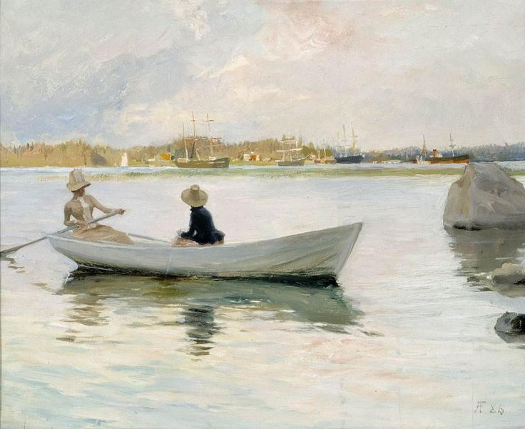 Boats in Harbour by Albert Edelfelt