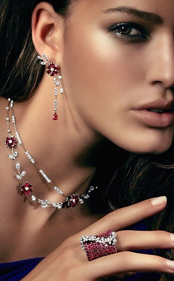 Rosendorff 'Indulgence Collection' Pink Sapphire and Diamond Necklace with Matching Earrings and Pink Sapphire and Diamond Cocktail Ring