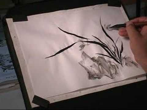 How to Paint Wild Orchid in Chinese Brush Painting or Sumi-e - YouTube