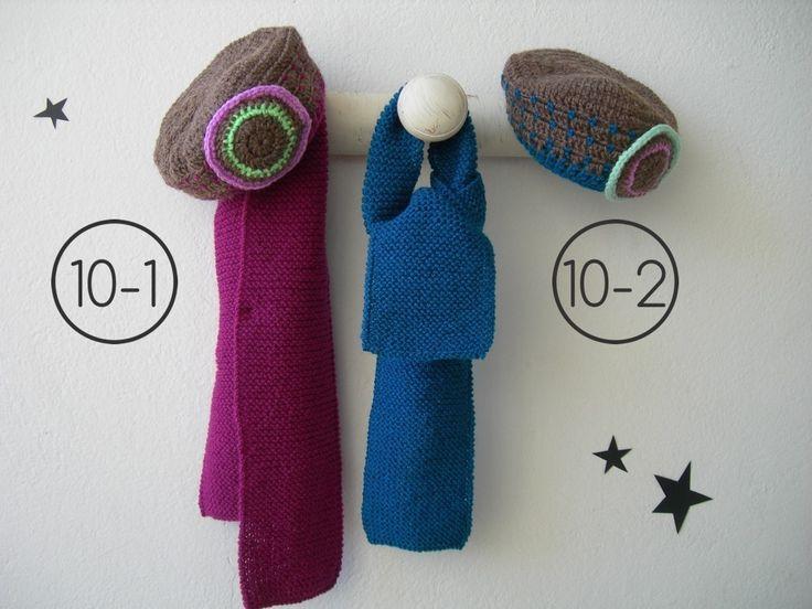 bufanda para bebe hecha en punto bobo color liso gorro ganchillo combinados colores y