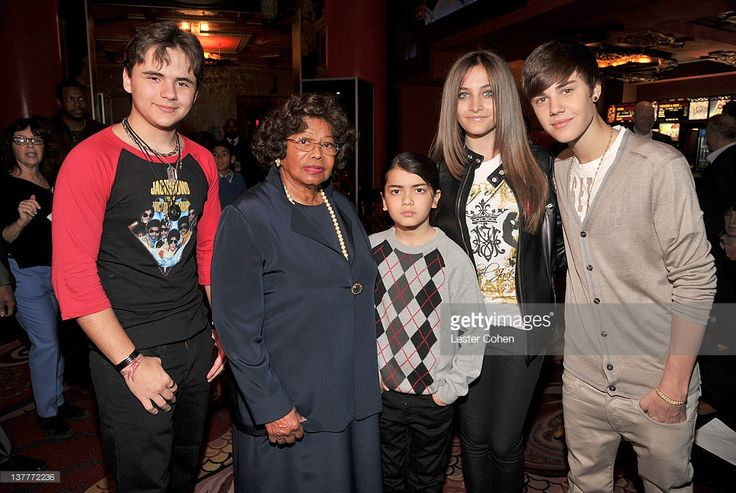 Prince Michael Jackson, Katherine Jackson, Blanket Jackson, Paris Jackson, and Justin Bieber attend the immortalization of Michael Jackson at Grauman's Chinese Theatre Hand & Footprint ceremony held at Grauman's Chinese Theatre on January 26, 2012 in Los Angeles, California.