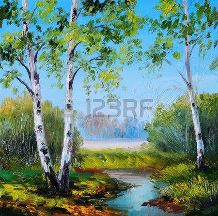 olejomalba - bříza v poli u řeky, v létě, na jaře photo