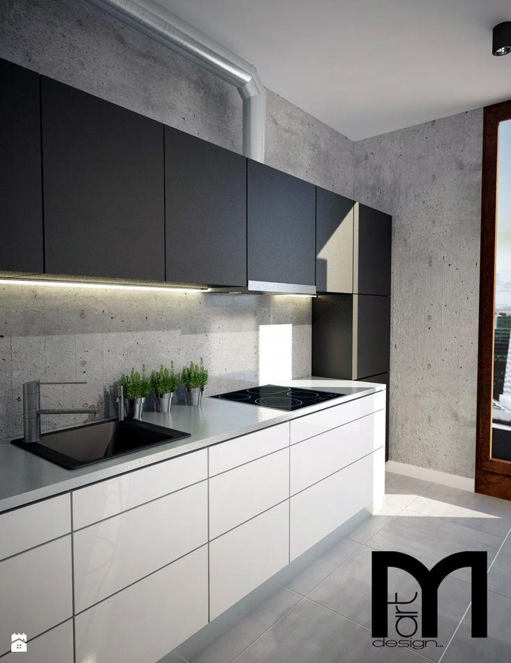 Projekt mieszkania w Warszawie - Średnia otwarta kuchnia jednorzędowa w aneksie, styl nowoczesny - zdjęcie od Mart-Design Architektura Wnętrz