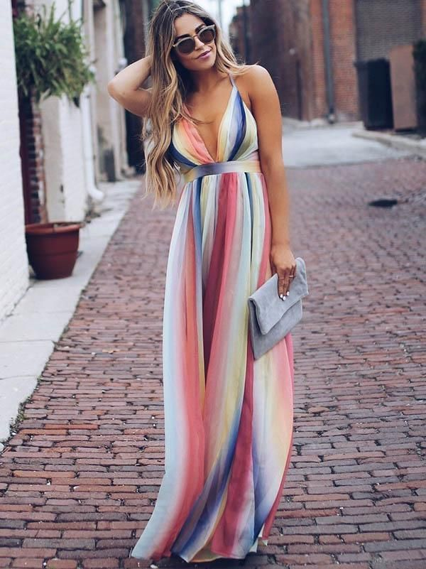 Deep V-neck Backless Gradient Maxi Dress Guest to a bridal or baby shower. Summe... 1