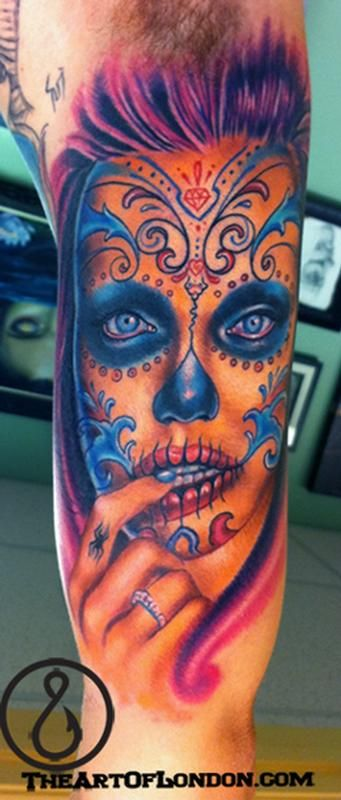 Brittan London Reese - Angelina Jolie Day of the Dead Color Portrait TattooDead Colors, Halloween Costumes Ideas, Tattoo Artists, Angelina Jolie, Portraits Tattoo, Sugar Skull, London Ree, Colors Portraits, Tattoo Ink
