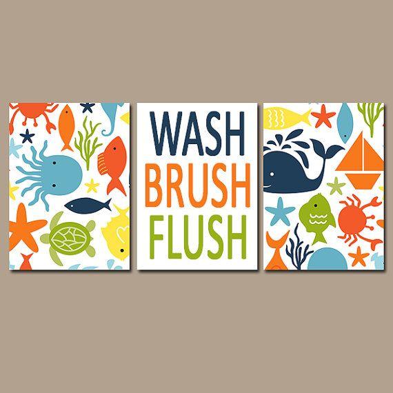 Ocean Bathroom Child Bathroom Wall Art Canvas Or Prints Nautical Sea Life Girl Boy Bathroom Wash Brush Flush Set Of 3 Kid Bathroom Rules