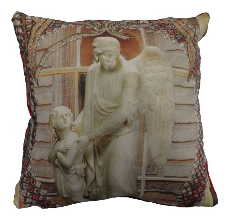 The cushion is digitally printed and shows part of the famous story The Little Match Girl by Hans Christian Andersen #hcandersen #angel #cushion #decor #pillow #shop #luxury #digitalprint #fairytale