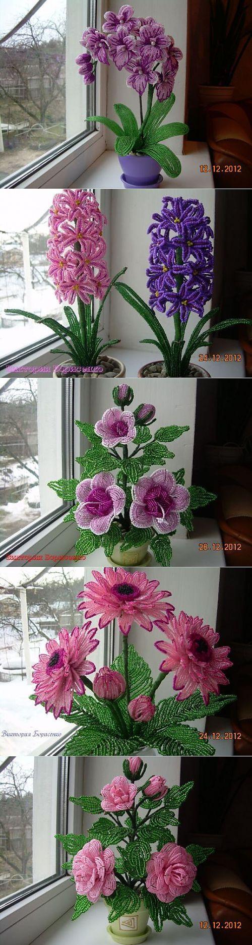 best çiçek images on Pinterest  French beaded flowers Seed beads