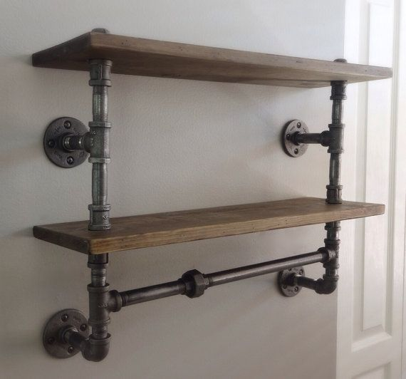 Industrial Pipe Double Shelf  With its industrially inspired design, this durable shelf keeps any room clutter-free by allowing you to store