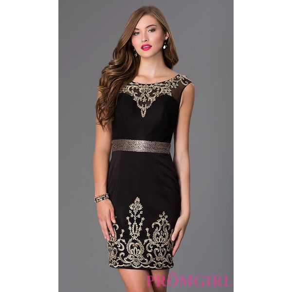 Short Sleeveless Black Dress with Lace Embellishments ($298) via Polyvore featuring dresses, plus size formal cocktail dresses, prom dresses, plus size formal dresses, plus size prom dresses and plus size special occasion dresses