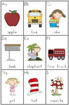 Beginning-Initial Sounds Alphabet Cards - 4 pages No blends in this resource!!! $1.50