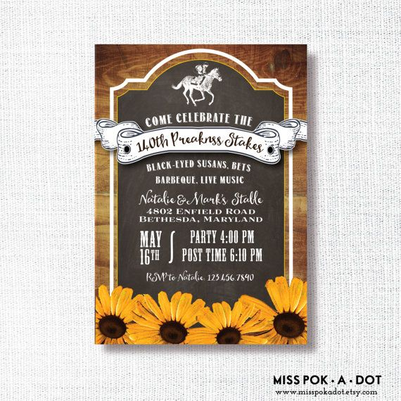 Preakness Stakes horse race party invitation - rustic horse racing invitation - black-eyed susans