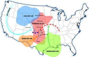 Tornado Alley - is a colloquial term for the area of the United States where tornadoes are most frequent. Although an official location is not defined, the areas in between the Rocky Mountains and Appalachian Mountains are the areas usually associated with it.