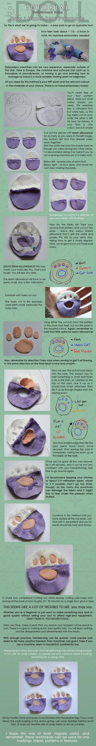 How I hand stitch Paw Pads http://www.deviantart.com/art/How-I-hand-stitch-Paw-Pads-479560630
