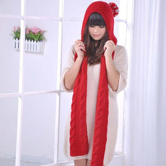 Hand Knit Hat hooded scarf Cable Scarf Hat in red  by Hieroglyphic, $49.00