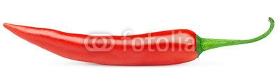Hot red chili or chilli pepper isolated on white background