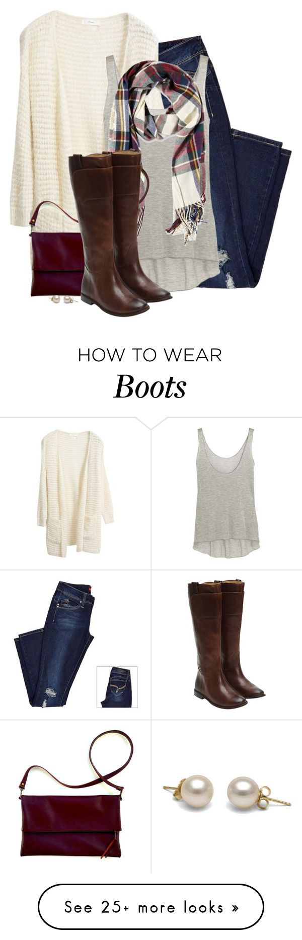 """Long cream cardigan, plaid scarf & boots"" by steffiestaffie on Polyvore featuring Enza Costa, Forever 21 and Frye"
