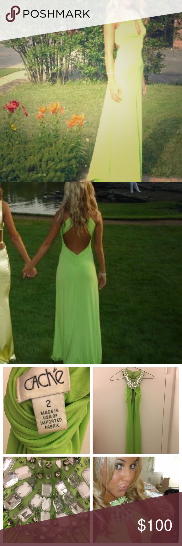 Cachê Prom Dress!!! Beautiful Lime green dress from cachê!!! Worn once!! In perfect condition!!!! Needs dry cleaning! Cache Dresses Prom