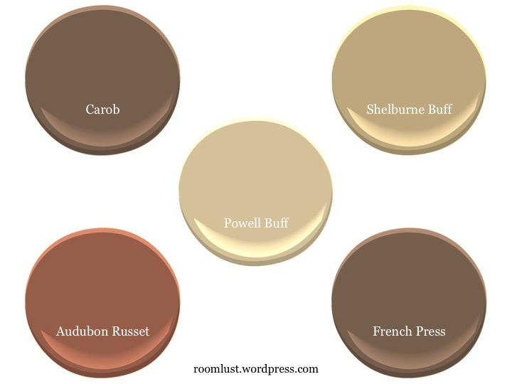 Benjamin Moore Powell Buff, Carob, Shelburne Buff, French Press, and Audubon Russet, via #RoomLust