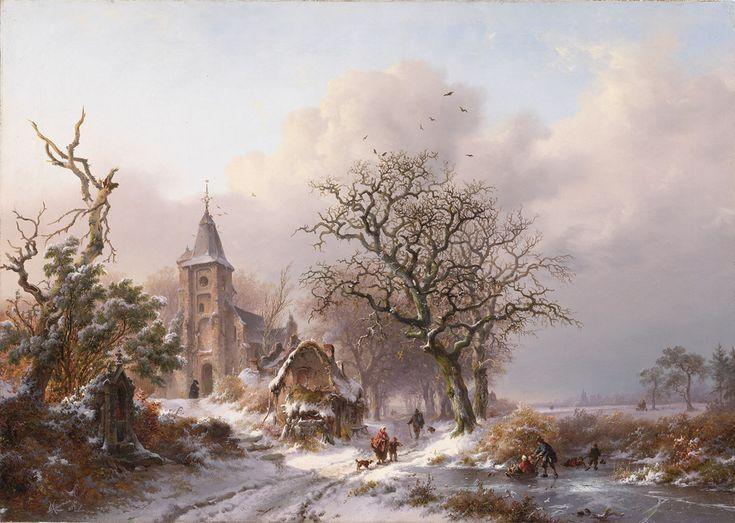Frederik Marinus Kruseman - Winterlandschap met kerk en schaatsers (1857)