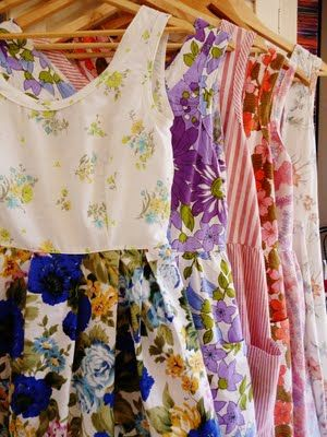 Dresses from vintage sheets. If I could sew these would be great with cowgirl boots!