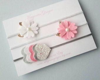 Plata gris y lazo de fieltro de niña/rosa fieltro por MagentaGinger