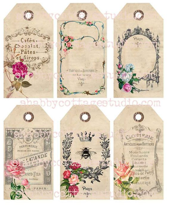 INSTANT DOWNLOAD Digital TAGS Collage Sheet French Labels and Roses