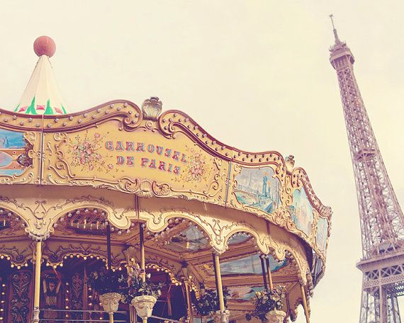 Paris Carousel Photography Eiffel Tower Paris Decor by GoodCamera