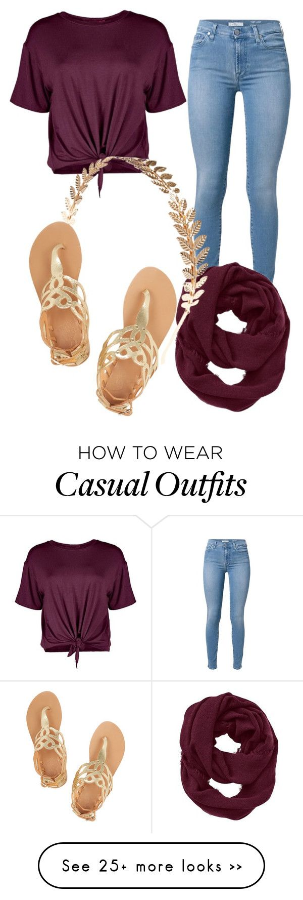 """Casual Day"" by xoxoluve on Polyvore featuring 7 For All Mankind, Boohoo, Athleta, Wet Seal and Ancient Greek Sandals"