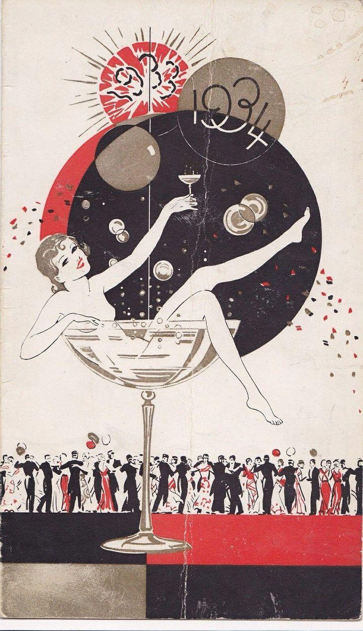 1933-1934 art deco New Year card