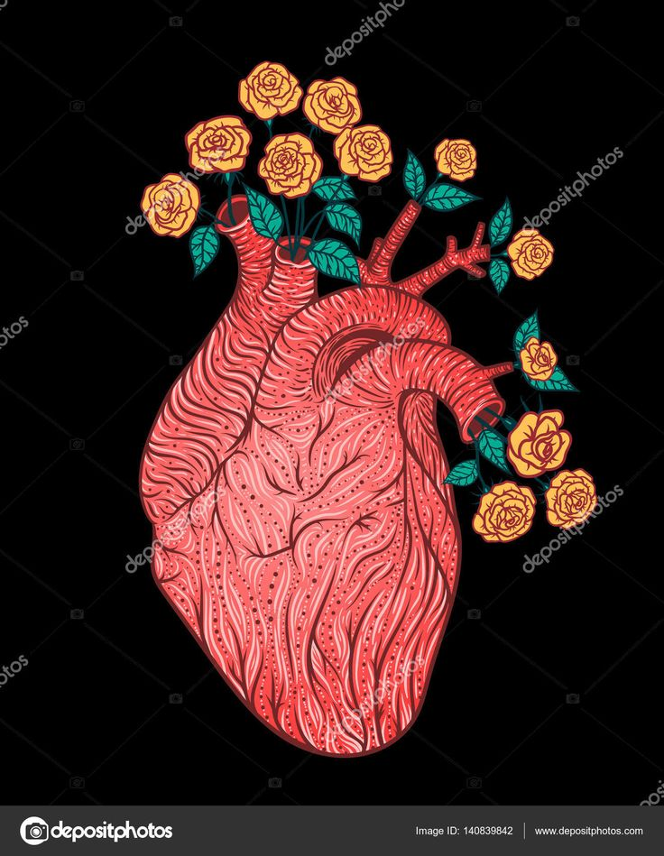 Человеческое сердце с цветами. Векторная иллюстрация. Татуировка стиль. В старинном стиле