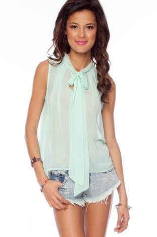 Ties or Tails Chiffon Top
