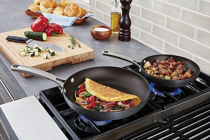 Calphalon 2 Piece Non-Stick Frying Pan Set 8inch 10inch Chefs Fry Pan Grey Cook #Calphalon