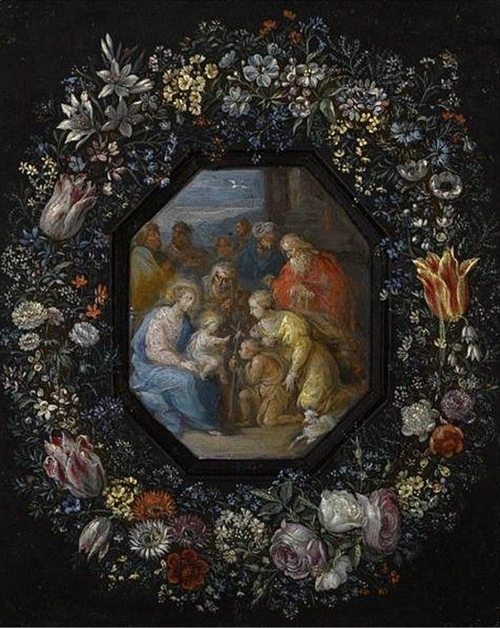 Philips de Marlier (1573-1668) — The Madonna and Child with Saint John, Saint Fnne and Other Saints within an Ornamental Cartouche Decorated with a Flower Garland (558x700)