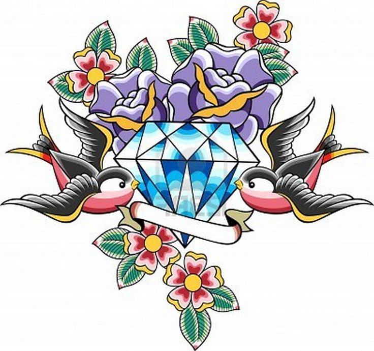 Dagger Diamonds Old School Tattoo Traditional Wings Leave A Comment Design 1092x1024 Pixel