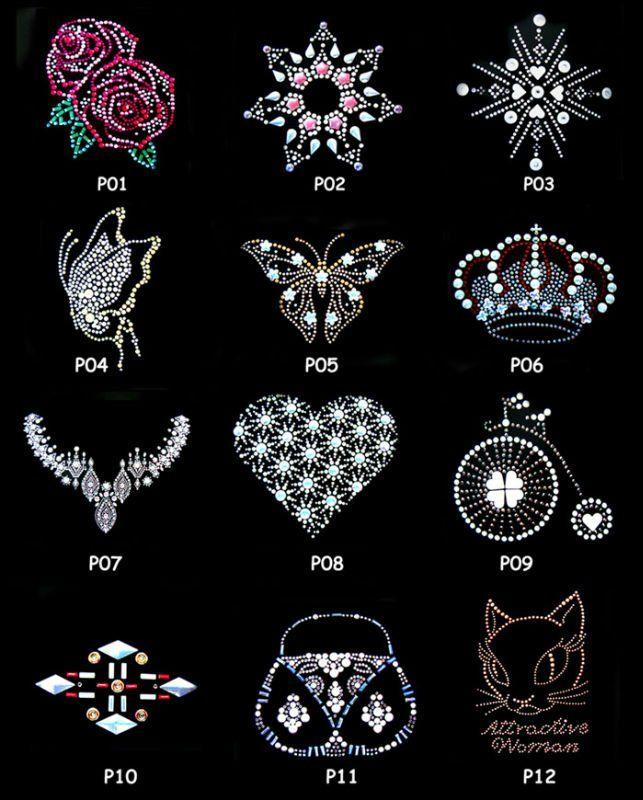 Rhinestone Design Patterns   Wholesale!! New Fashion Hot Fix Motif,Fix Rhinestone Flower Motif