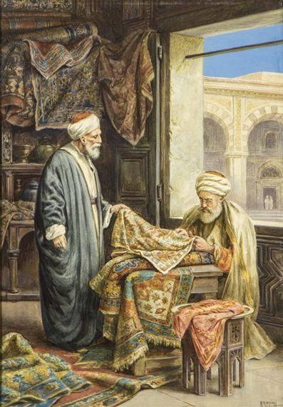 Carpet Seller. Mid 1800s or earlier. Art Vittorio Rappini