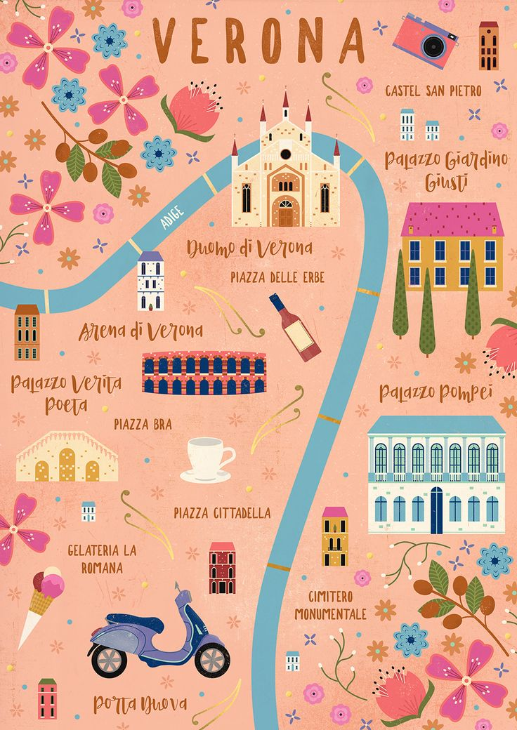 Carly Watts Illustration: Verona #map #illustrated #verona #italy #illustration