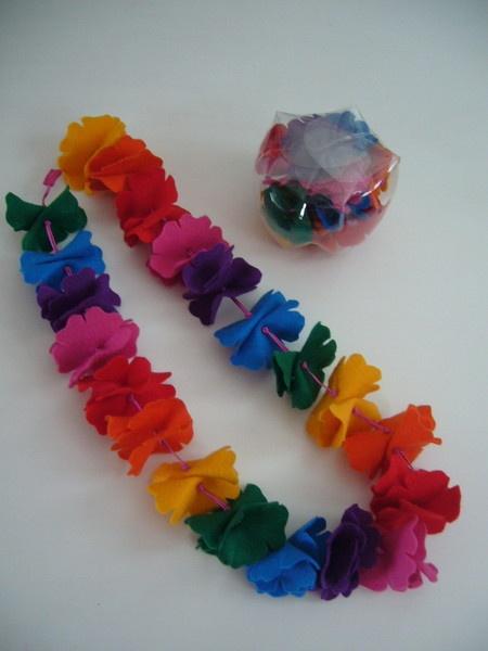 colar havaiano com embalagem ecológica