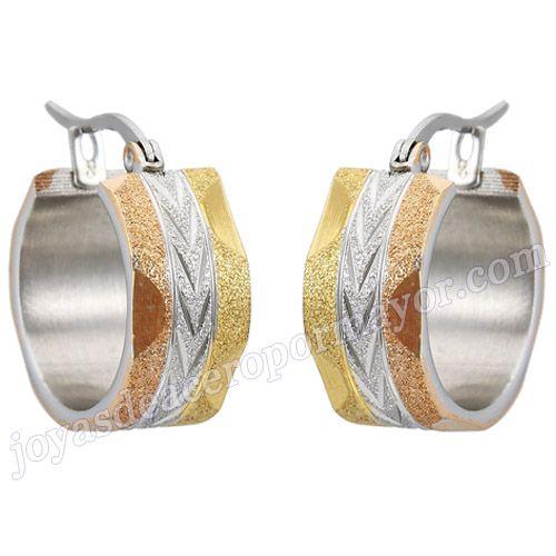 Material:Acero Inoxidable     Nombre:Chapado oro y rosario aros para dama de 20mm por mayoreo   Model No.:SSEG089   Talla:20mm   Peso:11g/pair