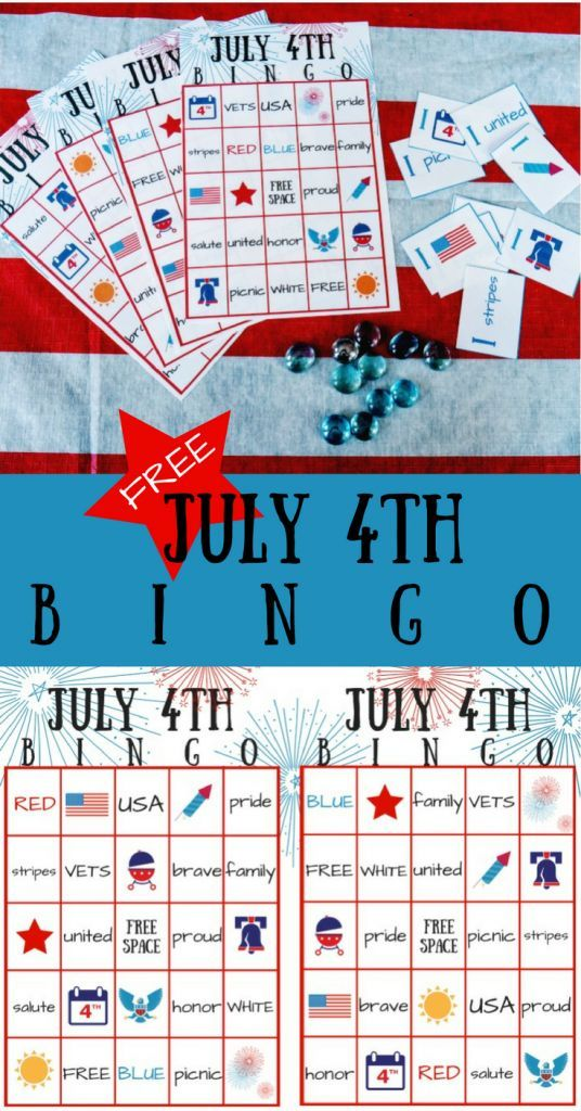 July 4th BINGO printable party game. Fourth of July kids game or adult party game! Family fun!
