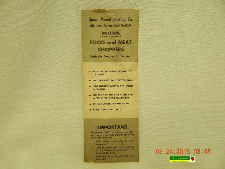 UNIVERSAL FOOD CHOPPER PARTS BOOKLET! TRI-FOLD PAGE! USED! 1974! EPHEMERA!AS IS!