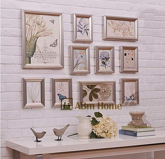 Abm Home Rd10 Champagne Multi Picture Frame Set Photo Frame Wall Frame Set With 10 Frames Large Photo F Wall Frame Set Vintage Picture Frames Frames On Wall